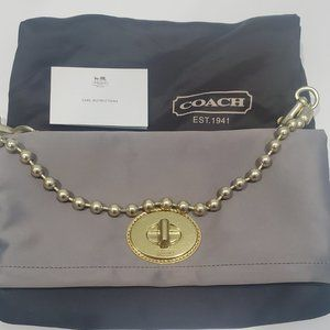 COACH Amanda Flap Satin Foldover Clutch Bag NEW